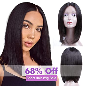 dd604faa7 Brazilian Virgin Hair 13x4 Lace Front Wigs Straight Hair Glueless Short U-Part  Wigs 150