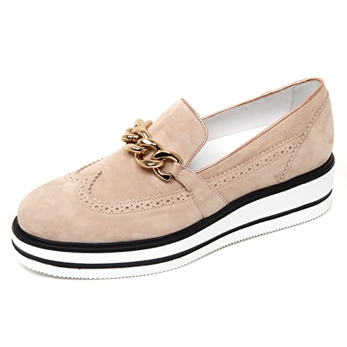 D0618 mocassino donna HOGAN H323 n. route zeppa beige/nero slip on shoe woman