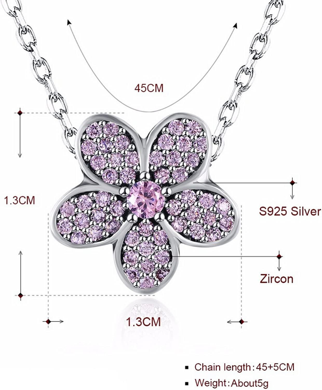 CS-DB Jewelry Silver European Light Pink Flower Bead Chain Charm Pendants Necklaces