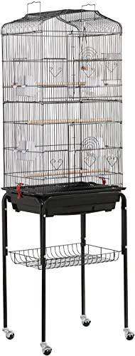 go2buy 2 in 1 Open Top Bird Cage Parrot Finch Carrier Cage with Stand and Wheels,18.7 x 14.6 x 61.6 Inches