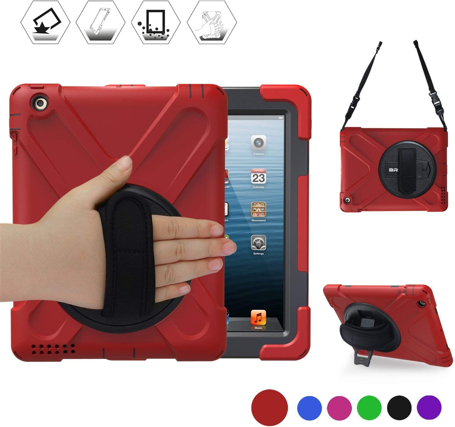 BRAECN iPad 2 Case, iPad 3 Case, iPad 4 Shockproof Case-[Heavy Duty] Full-Body Rugged Hybrid Protective Case with 360 Rotating Kickstand/Hand Strap/Shoulder Strap for ipad 4th Generation case (Red)
