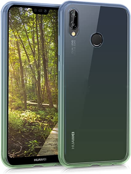 kwmobile Cover Compatibile con Huawei P20 Lite - Custodia in TPU Silicone per Cellulare - 2 Colori Blu/Verde/Trasparente