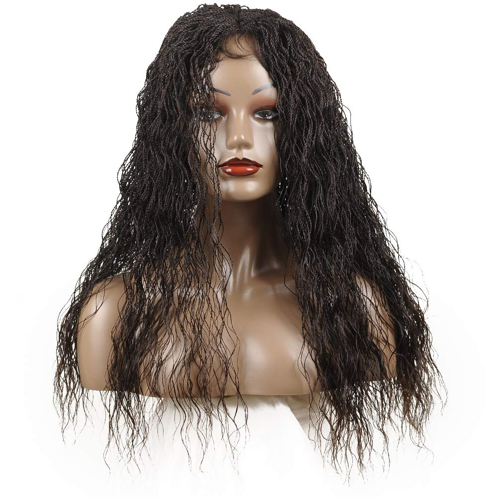 """Braided Wigs, Shining Star 22"""" Pure Handmade Micro Braided Water Wave Chocolate Brown Synthetic Hair Wigs with Babay Hair for Women"""