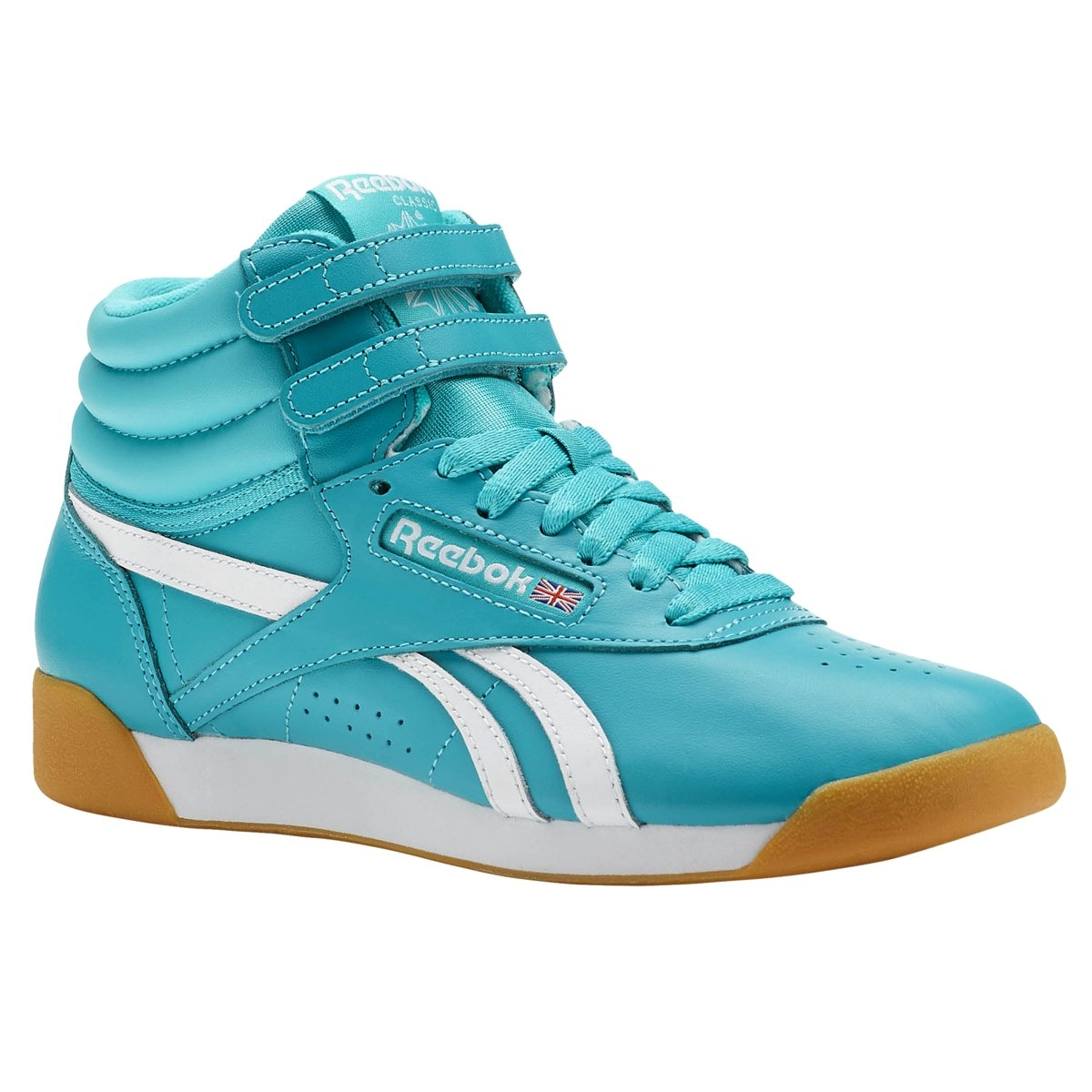 Reebok Freestyle Hi Suede Shoe Women's Casual 5 Solid Teal-White-Gum by Reebok (Image #1)