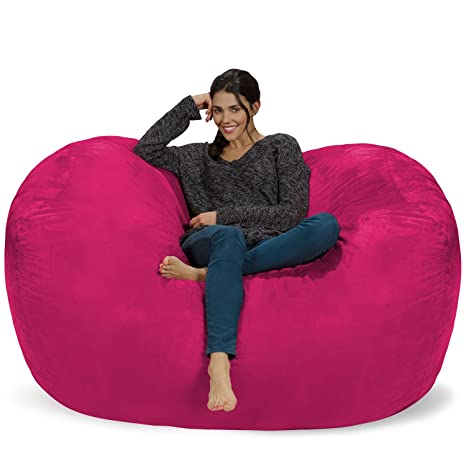 Chill Sack Bean Bag Chair: Huge 6 Memory Foam Furniture Bag and Large Lounger - Big Sofa with Soft Micro Fiber Cover - Pink