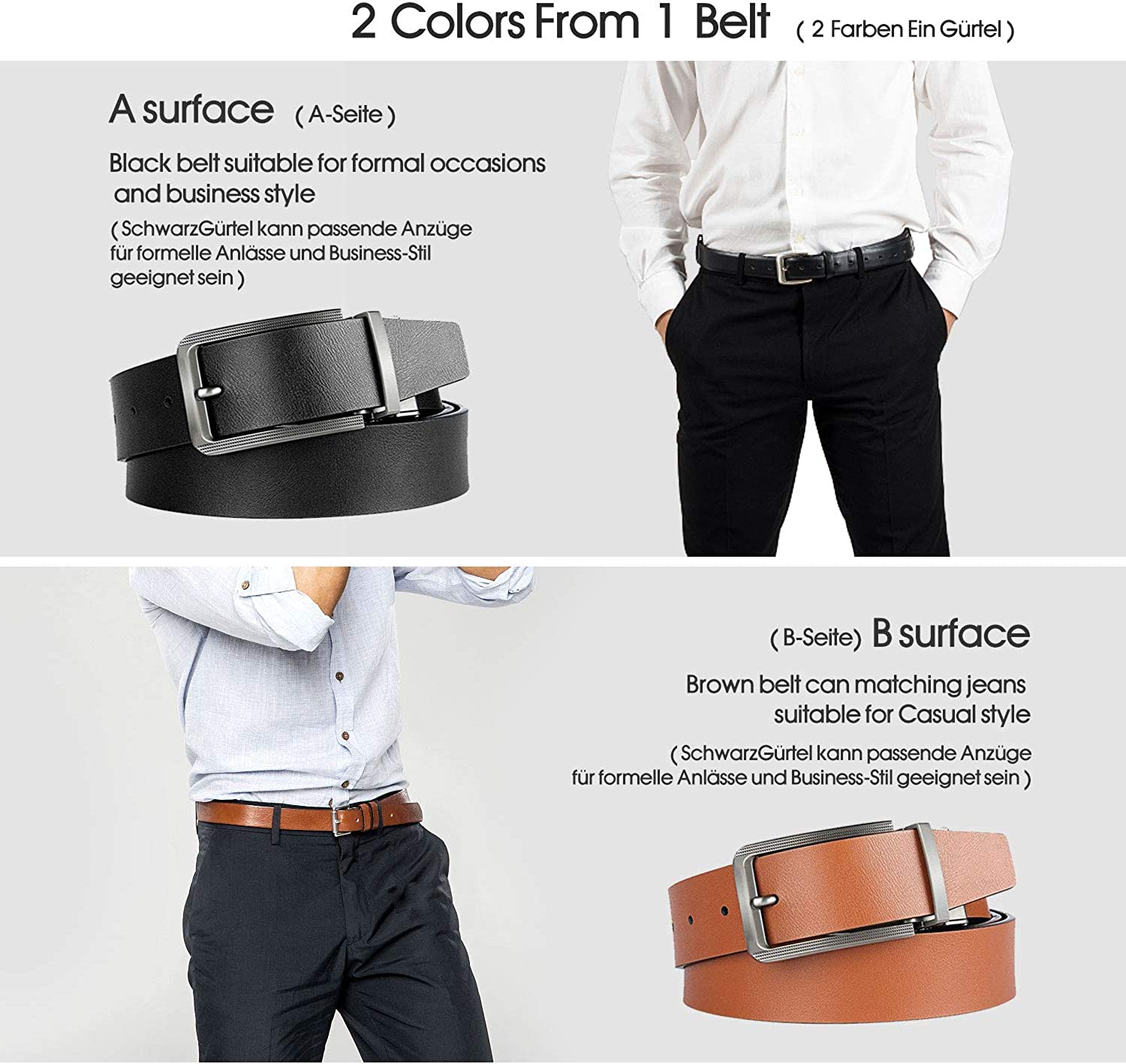 BESTKEE Mens Leather Belt Reversible suit belt jeans leather belt for men Black and Brown width 3.5cm with Rotated Buckle