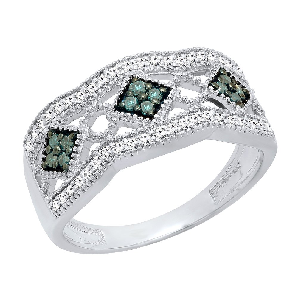 0.35 Carat (ctw) Sterling Silver Round Blue & White Diamond Vintage Wedding Band 1/3 CT (Size 6)