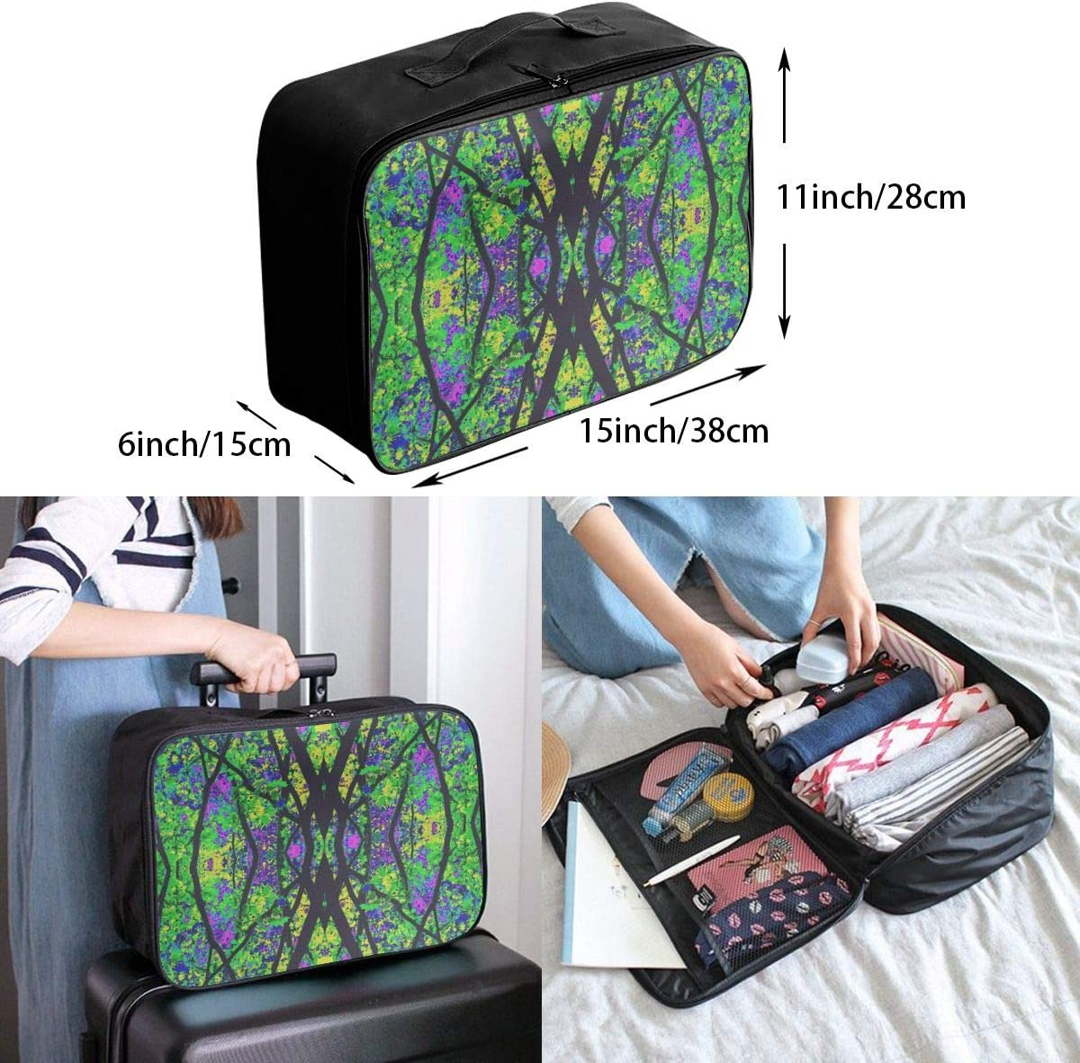 Yunshm Kaleidoscope Green Colors Personalized Trolley Handbag Waterproof Unisex Large Capacity For Business Travel Storage