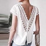 2019 Women Summer Sexy Backless Lace Short Sleeve T Shirts Fashion V Neck Chiffon Blouse Tops Tees