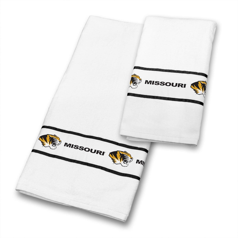 30 x 54 White Sports Coverage NCAA Missouri Tigers Towel Set
