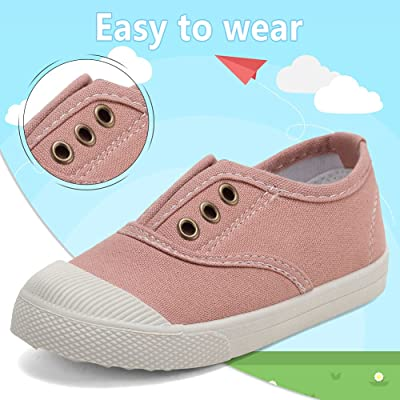 NEW CHILDRENS LIGHT BEIGE CANVAS SLIP ON SHOES SNEAKERS