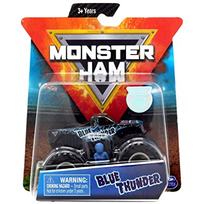 MJ Monster Jam 1:64 Scale Blue Thunder with Figure: Toys & Games