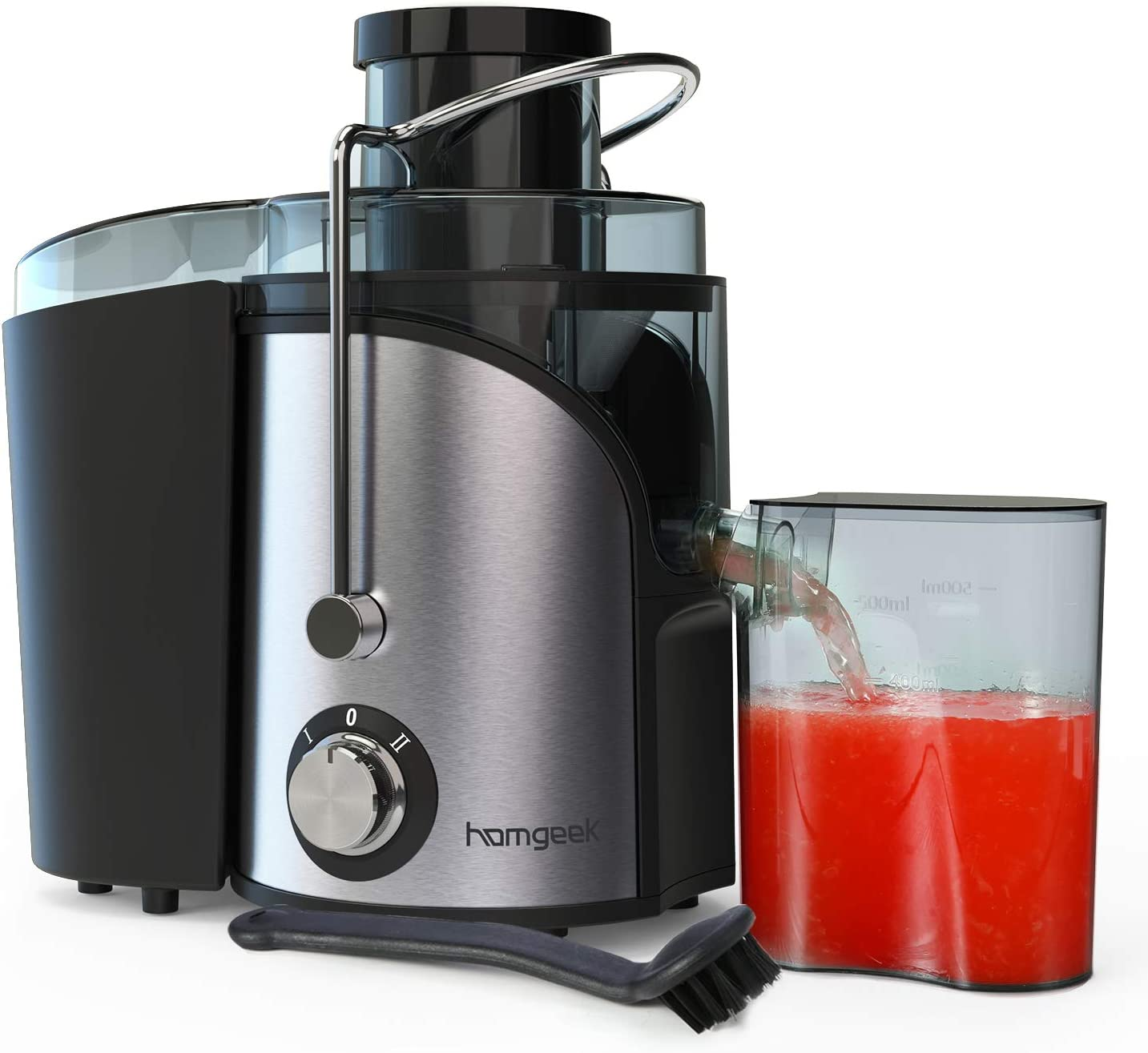 Homgeek Juicer Extractor, Centrifugal Juicer with Wide Mouth, Dual Speed Mode Juicer Machine with Anti-Shake Design, Easy to Clean, BPA-FREE