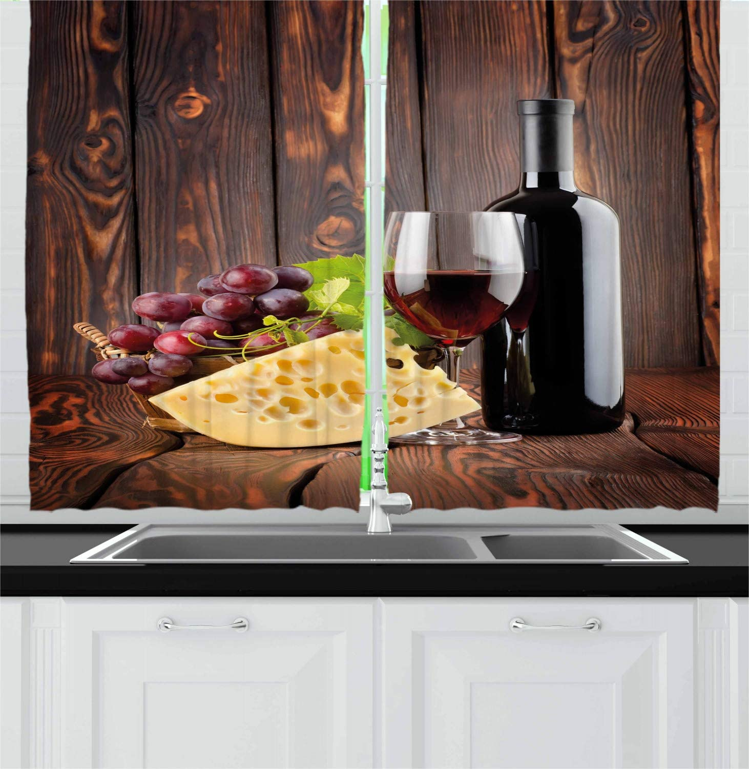 Ambesonne Wine Kitchen Curtains, Red Wine Cabernet Bottle and Glass Cheese and Grapes on Wood Planks Print, Window Drapes 2 Panel Set for Kitchen Cafe Decor, 55