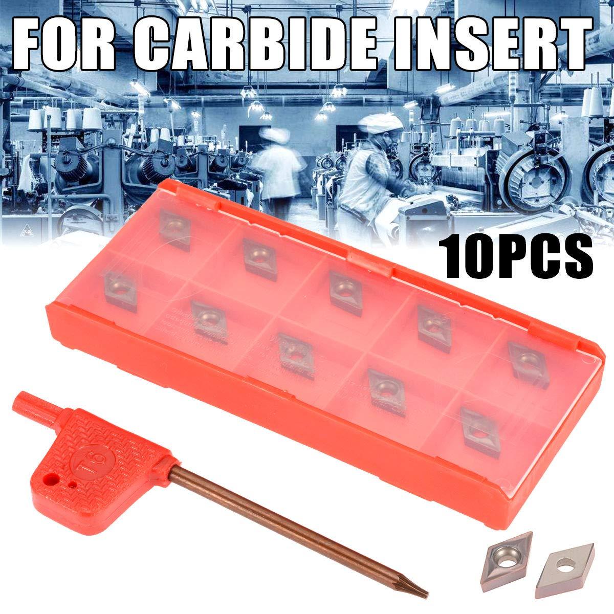 10Pcs Baugger Inserts En Carbure Box Dcmt0702 Ybc205 Carbure Ins/ère CNC Lames D/éfinies pour le Tour Tournant outil de Forage