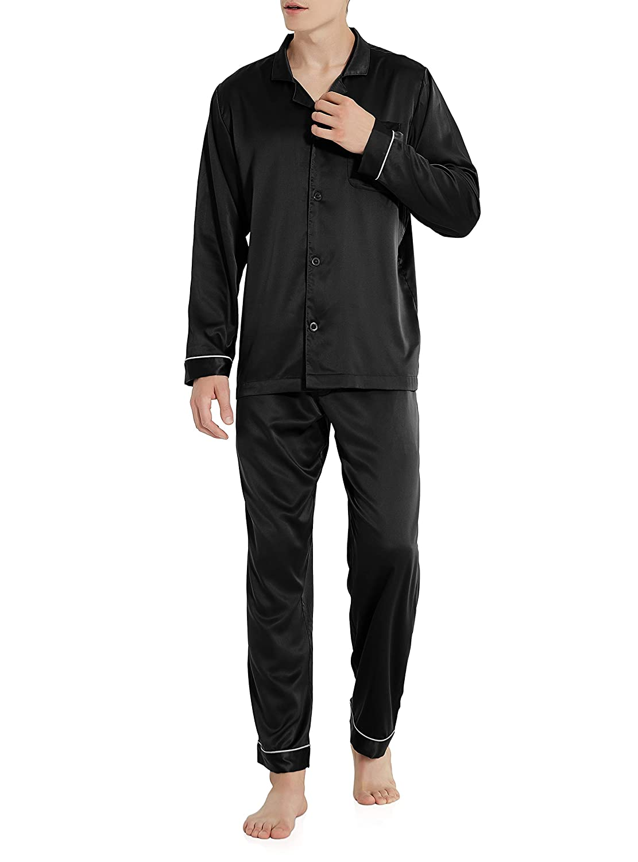 David Archy Men's Satin Silky Sleepwear Pajamas Set Button-Down Long Loungewear