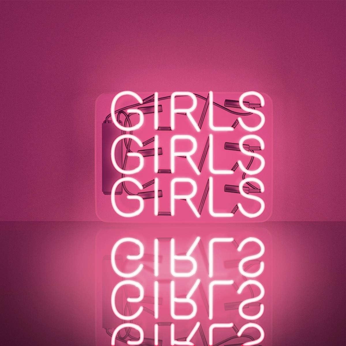 "Neon Sign, Handmade Glass Girls Girls Girls Neon Signs Ultra Bright Pink Neon Light 3D Visual Effect Decorative Sign Novelty Neon Night Light for Man Cave Room Bedroom Office Bar Wall Decor 12""x10"""