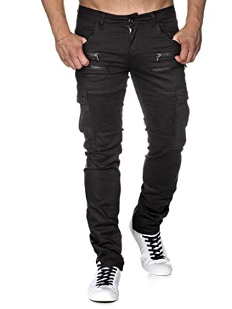 d96fc5682c29 Tazzio Slim Fit Biker Style Herren Stretch Chino Hose Denim 16507 Schwarz  33 32