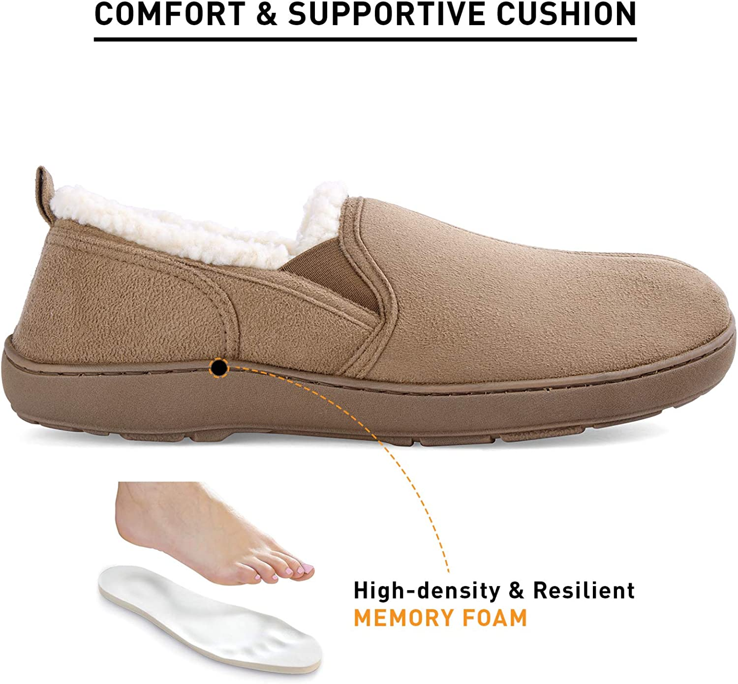 Mens Casual Memory Foam Comfortable Moccasin Slippers House Shoes Indoor//Outdoor Anti-Slip Rubber Sole