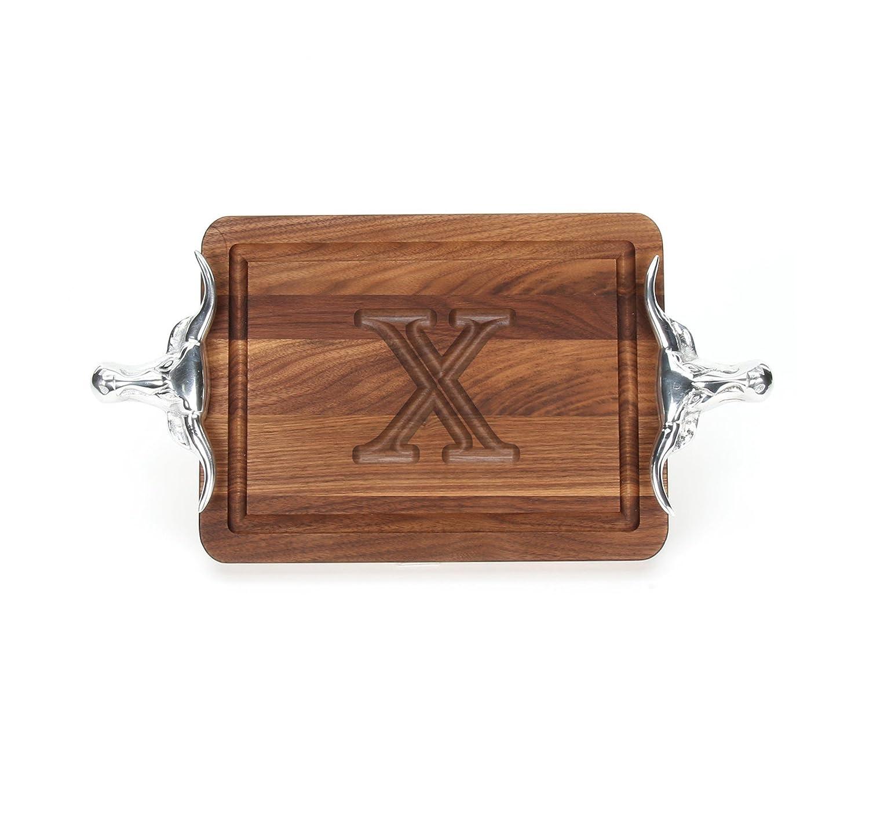 Bigwoodボード厚バー/チーズボードwith Longhornキャストアルミニウムハンドル、9-inch by 12-inch by 3 / 4インチ、モノグラム、ウォールナット S ブラウン B00ECPQ21A H