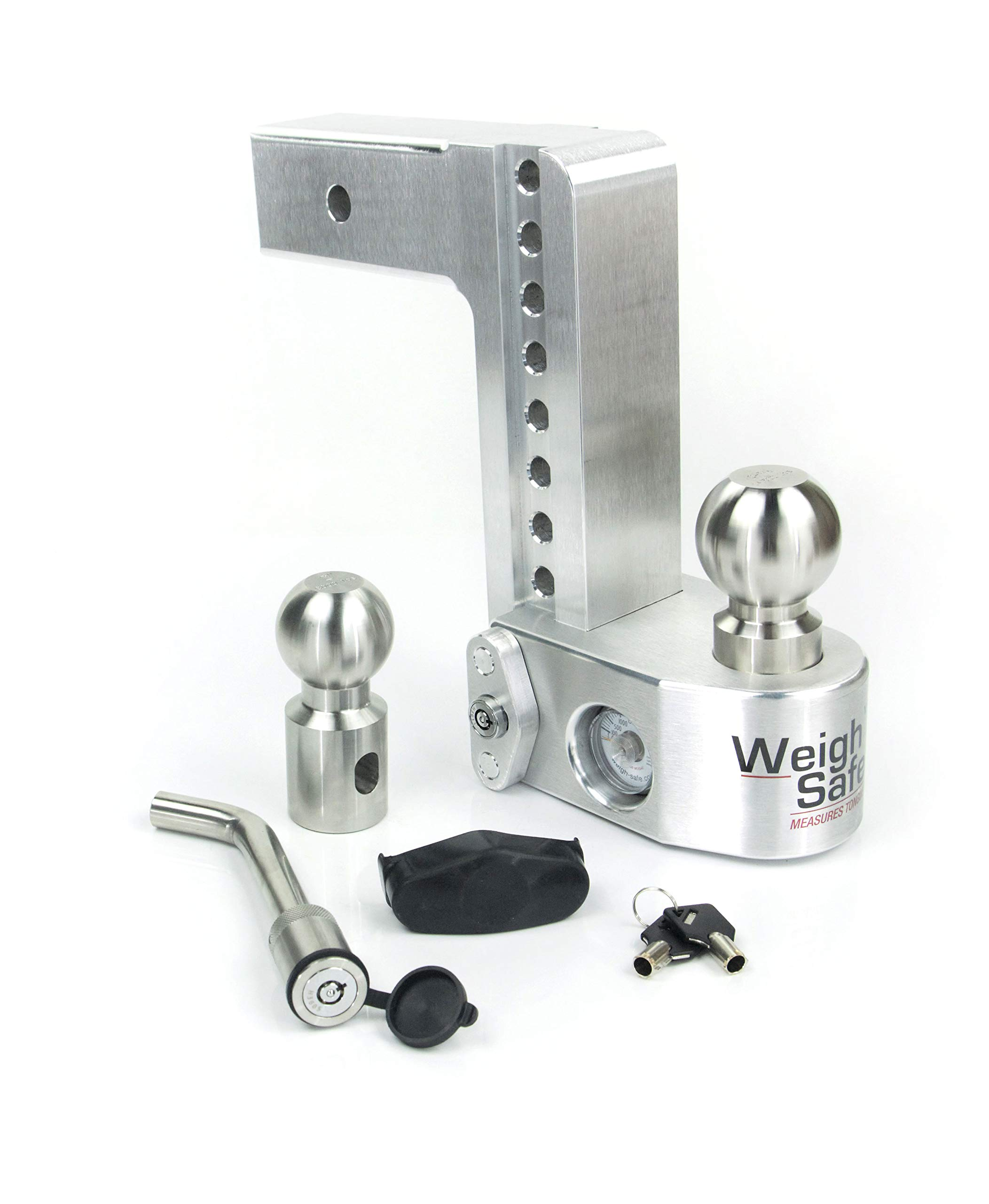 Weigh Safe WS8-2.5-KA, 8'' Drop Hitch w/ 2.5'' Shank/Shaft - Adjustable Aluminum Trailer Hitch & Ball Mount w/Built-in Scale, 2 Stainless Steel Balls (2'' & 2-5/16'') Keyed Alike Key Lock and Hitch Pin by Weigh Safe