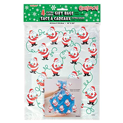 Christmas Cellophane Bags.Large Santa Claus Christmas Cellophane Bags 4ct