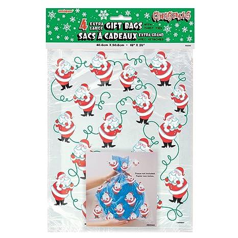 Large Santa Claus Christmas Cellophane Bags 4ct