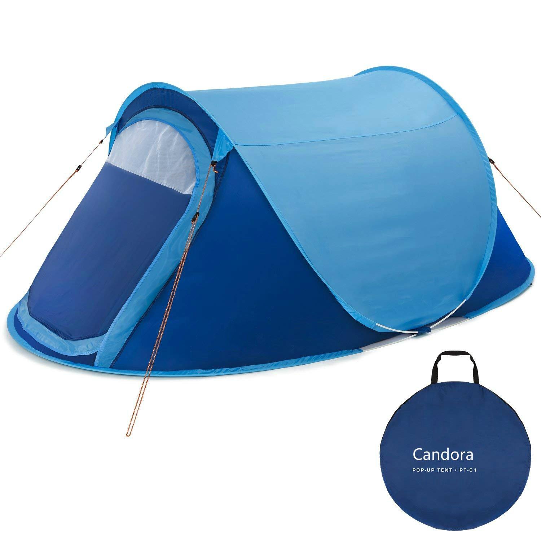 Candora Upgraded groß 2 Personen Pop up Zelt – WasserBesteändig, Gut Belüftet und Langlebig und