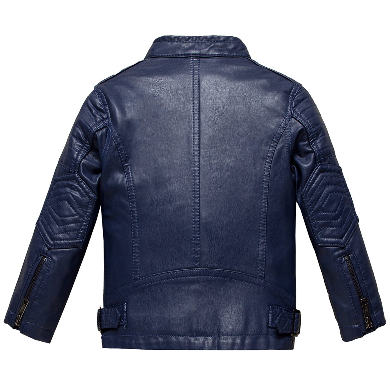 Budermmy Boys Atletic Faux Leather Moto Zipper Jackets Blue Size 3t