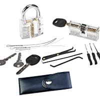 DWZ Lock Picking Training Set 15 Pieces with Clear Transparent Padlock and Cylinder for Lockpicking Learning and Practice, a Carrying Pouch and a Set of Extractor