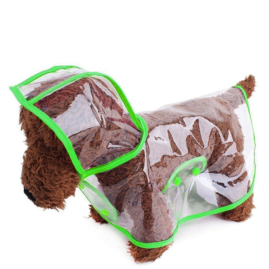 Green Small Green Small By DogLemi Clear Plastic Raincoat for Dogs (Green, S)