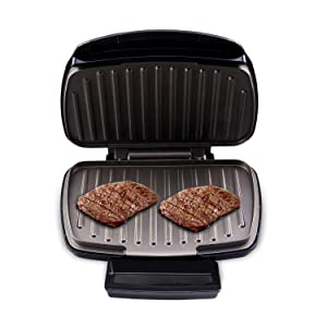 Health and Home 2-Serving Classic Plate Grill Maker and Panini Press, Black, KS-306