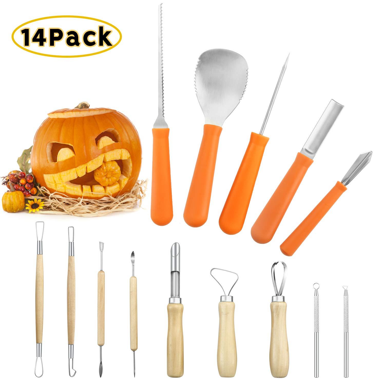 Pumpkin Carving Pro Kit for Halloween,Professional Jack-O-Lanterns Sculpting Pro Set Pumpkin Craft Scraper,Scoop, Saw,Graver Tools (14 Pack) by iefoah