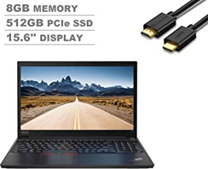 "2020 Lenovo ThinkPad E15 15.6"" FHD Full HD (1920x1080) Business Laptop (Intel 10th Quad Core i5-10210U, 8GB DDR4 RAM, 512GB SSD) Type-C, HDMI, Windows 10 Pro + IST Computers HDMI Cable"
