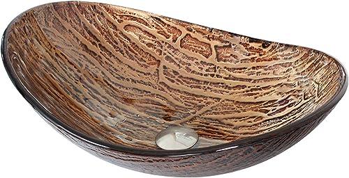 ELITE Bathroom Tempered Boat Shape Glass Vessel Sink with Hot Melt Multicolor Pattern