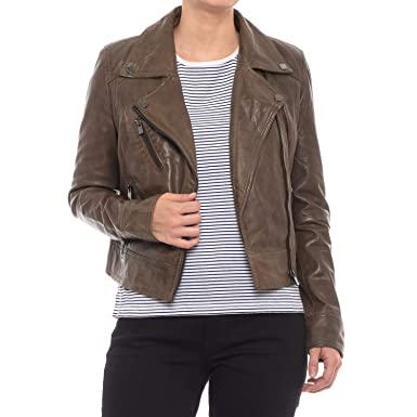 9b4e2d1b8d6 Image Unavailable. Image not available for. Color: Bod & Christensen  Cropped Leather Biker Jacket ...