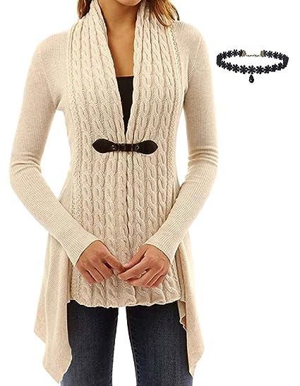 Chaquetas de Punto Mujer Tallas Grandes Suelta Jerseys Suéter Largo Asimetrico Cardigan Manga Larga del Dobladillo Irregular Parka Jacket Outerwear Pullover ...