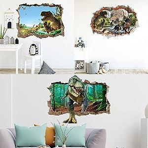 3PCS 3D Cracked Large Dinosaur Wall Sticker, DILIBRA Crack Hole Forest Dinosaur Wall Decal, Self-Adhesive Jurassic World Broken Smashed Decorative Mural for Boys Bedroom Baby Kids Nursery (Dinosaur3)