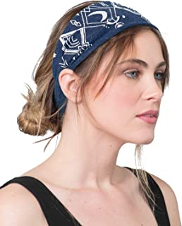 product image for Soul Flower Women's Moon Beam Recycled Boho Headband, Blue Organic Cotton Stretchy Wide Half Bandeau Accessory