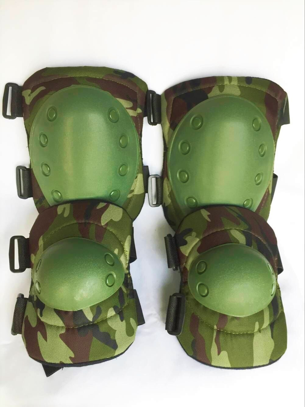 Bargain Crusader Military Tactical Knee Pad Elbow Pad Set Airsoft Knee Elbow Protective Pads Combat Paintball Skate Outdoor Sports Safety Guard Gear (Woodland Camouflage) by Bargain Crusader