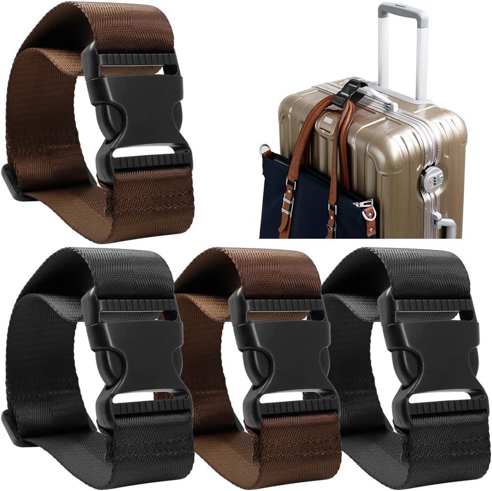 AFUNTA 4 Pack Añadir una Bolsa Correa de Equipaje, Adjustable Travel Suitcase Belt Attachment Accesorios para conectar Sus Tres Equipaje Juntos - Negro/Marrón