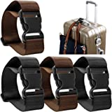 4 Pack Add a Bag Luggage Strap, AFUNTA Adjustable Travel Suitcase Belt Attachment Accessories for Connect Your Three Luggage Together - Black/Brown