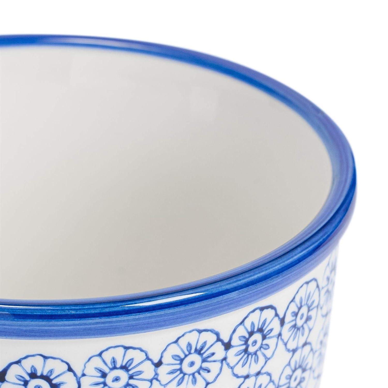 Fiore Vaso Ceramica Porcellana INTERNI ESTERNI GIARDINO Fioriera-Blu//Arancione