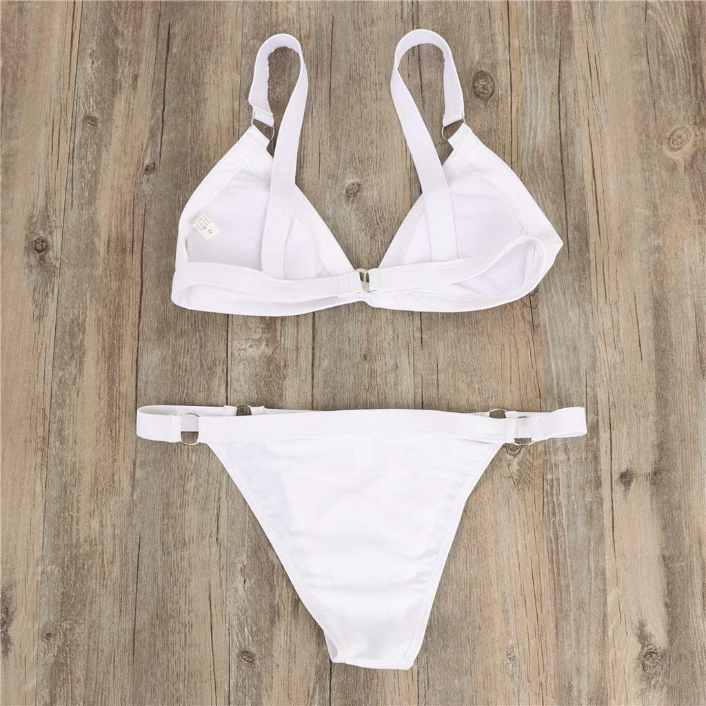 iFOMO Solid WOB Hook Back Bikini Set Beach Underwear for Women
