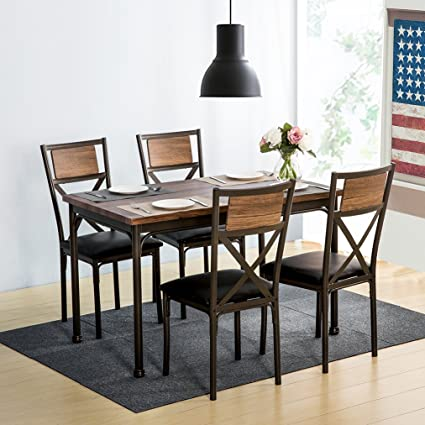 Harper&Bright Designs 5-Piece Dining Table Set for 4 Wood Metal Industrial  Style Kitchen Table with 4 PU Leather Upholstered Chairs