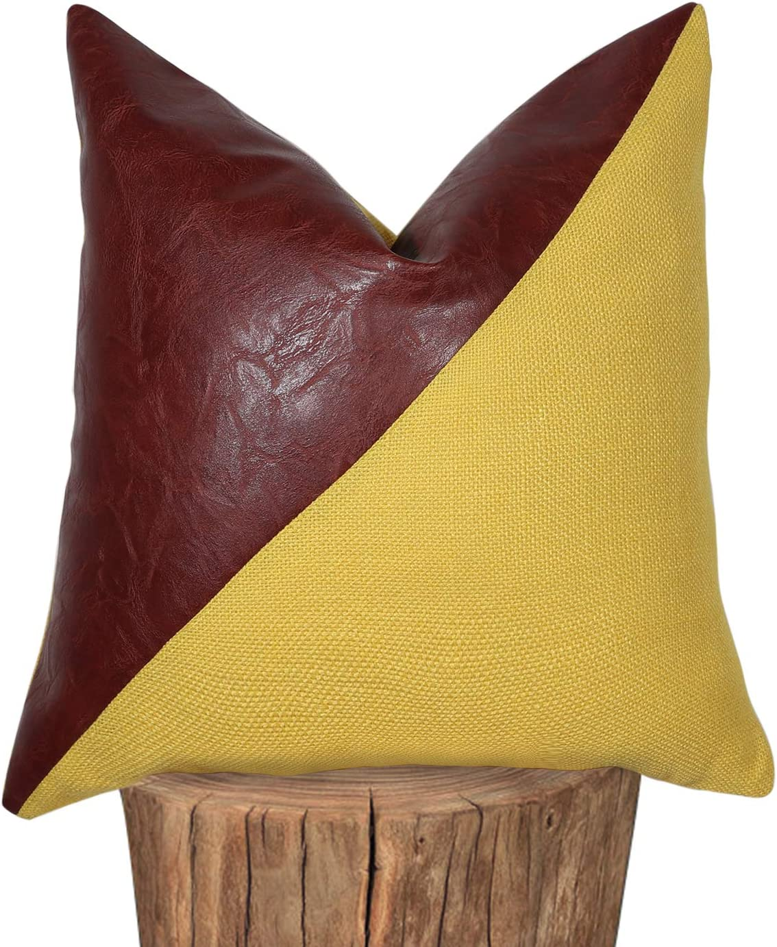 Hckot Farmhouse Cotton Decorative Throw Pillow Covers Faux Leather Accent Pillow 18x18 inch Boho Modern Decor Pillow Case for Couch (Yellow)