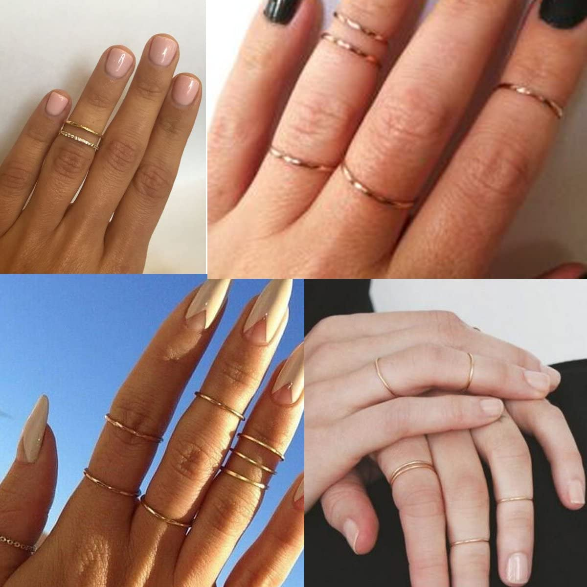 5pcs Knuckle Stacking Rings Women Girls Midi Circles Simple Band 925 Sterling Silver Rose Gold