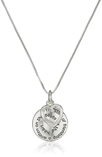 Friendship Pendant Necklace Amazon sterling silver the story of friendship disc and heart amazon sterling silver the story of friendship disc and heart pendant necklace 18 friend necklace jewelry audiocablefo