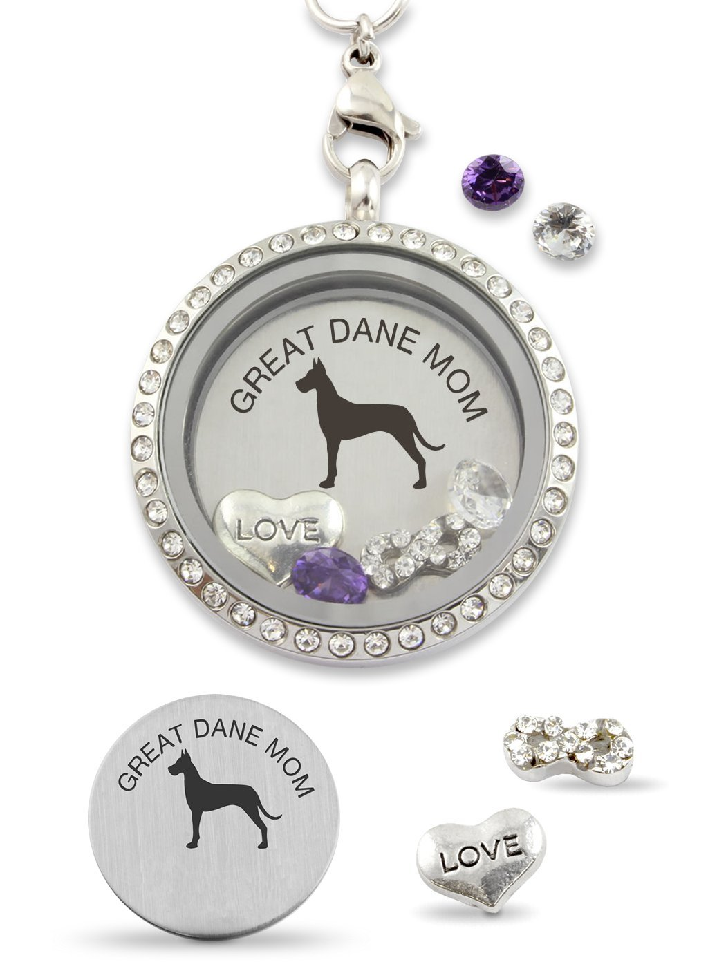 Great Dane Mom Infinity Love Dog Floating Charm Living Memory Locket Magnetic Closure 30mm Stainless Steel Pendant Necklace
