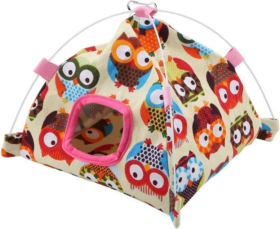 TOPINCN - Tienda de campaña de 7 Colores con diseño de Loro + Alfombrilla de Coral para Jaula, para acurrucarse, para Loros, pájaros, hámster, Mascota pequeña, Nido para Dormir